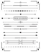Set of Retro Decorative Page Dividers and Design Elements. Vector Illustration. Classical Book Collection.