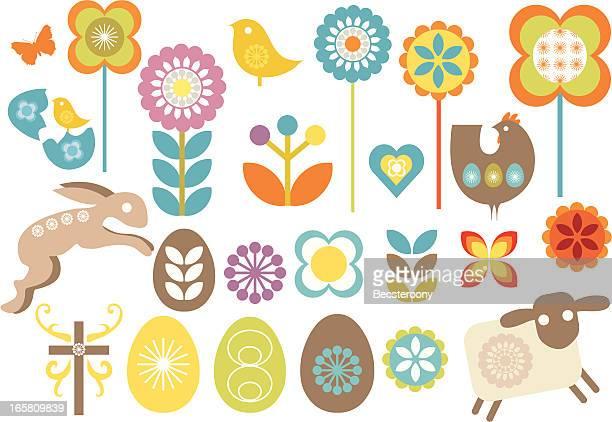 Satz von retro-design-Elemente für Ostern