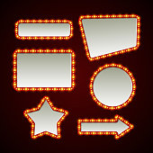 Set of retro light frames. Vector illustration EPS 10