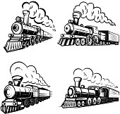 Set of retro locomotives on white background. Design elements for  label, emblem, sign. Vector image