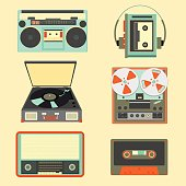 Set of retro music gadgets from 21-st century. Old musical devices vector illustration. Tape stereo system, audio cassette, reel-to-reel recorder, walkman player, radio, gramophone