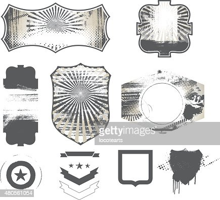set of retro stencil shields : Vector Art