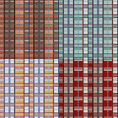 Set of retro vector red, blue, white and orange plaid pattern