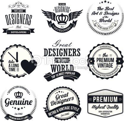 satz von vintageabzeichen und etiketten im retrolook vektorgrafik thinkstock. Black Bedroom Furniture Sets. Home Design Ideas