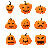 Set of halloween vector icons. Ripe orange pumpkins with funny faces isolated on white background. Different shapes. Autumn holidays.