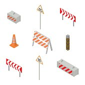 Set of road signs repairs isolated on white background. Isometric style, vector illustration.