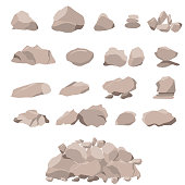 Set of rock of stones and large boulders. Flat style 3D. The elements of nature and landscape. Mountain concept. Isolated on white background. Vector illustration.