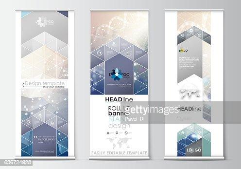 Set of roll up banner stands, flat design templates, abstract : Vektorgrafik