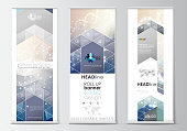 Set of roll up banner stands, flat design templates, abstract geometric style, modern business concept, corporate vertical vector flyers, flag banner layouts. DNA molecule structure on blue background