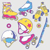 Set of roller skates, skateboard, helmets wheel