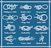 Set of rope knots, hitches, bows, bends. Decorative vector design. Part 3 of 3