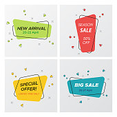 Set of flat geometric sale banner in trendy concept. Simple graphic round corners rectangle shape promo sticker with vivid colors. Vector illustration with sale tags for business promotion.