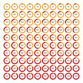 Set of round segmented charts from %1 to %100