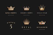 Set of royal gold crowns icon and logo. Isolated luxury logo for branding, label, game, hotel, graphic design. Collection logo crowns for royal persons, king, queen, princess. Vector Illustration