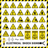 Set of safety caution signs and symbols of electrical shock hazards, Labels and signs for caution messages of electrical operations.