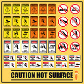 Set of safety caution signs and symbols of the hot surface, Labels and signs using for all hot surfaces prevention.