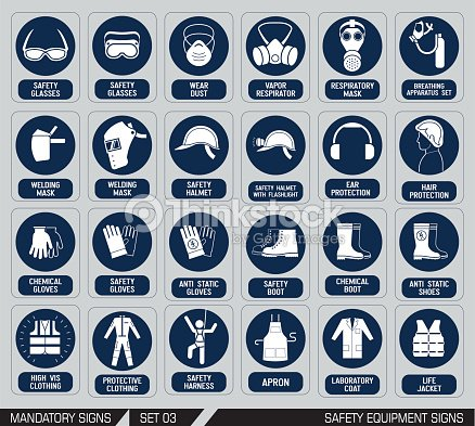 Set Of Safety Equipment Signs Vector Art Thinkstock