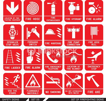 set of safety signs firefighting icons vector art thinkstock