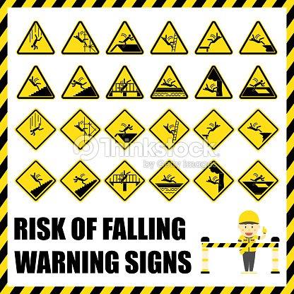 90f3e30b4146c Conjunto de señales de advertencia de seguridad y los símbolos de riesgo de  caída