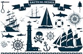 Set of sailing ships with nautical design elements. Vector illustration
