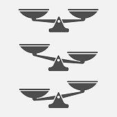 Set of scales balance isolated on white background. Vector illustration. Eps 10.