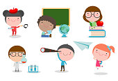 Set of school kids in education concept,happy cartoon kids in classroom,children playing and lifestyle, child go to school, back to school, Vector Illustration.