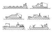 Set of scientific exploration ships. Sea research transportation vehicle. Ocean ship. Vector illustration.