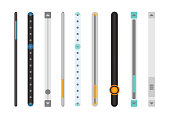 Scroll bars. Set of scrollbars set. Isolated on white background. Web Design Elements: Slider Bars. Vector Illustration. Scroll bars. Vector web ui scroll elements.