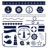 Set of sea and nautical elements isolated on white background. Vector illustration.