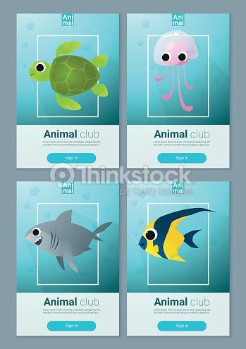 set of sea animal templates for web design 1 vector art thinkstock