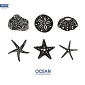 set of vector silhouettes of sea creatures