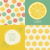 Set of seamless backgrounds. Slices of citrus fruit. Vector illustration