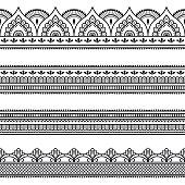 Set of seamless borders for design and application of henna. Mehndi style. Decorative pattern in oriental style.Set of seamless borders for design and application of henna. Mehndi style. Decorative pa