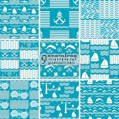 set of seamless nautical sea patterns blue and white colors vector