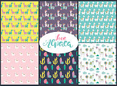 Set of seamless pattern with cute llamas and cactus. Editable vector illustration