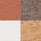Vector illustration. Set of seamless patterns. The brick wall is red, brown, white, gray. Background