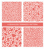 Set of abstract vector terrazzo patterns in coral tones. Texture of classic italian mosaic in Venetian style. Imitation of granite, quartz and  marble. Seamless pattern for textile, paper, card, inter
