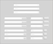 Set of Search bars isolated on grey background. Vector template for internet searching. Web-surfing interface with white buttons.