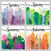 set of seasons background wiht trendy colorful leaves. Vector botanical illustration. Great design element for calendar, congratulation cards, banners and other