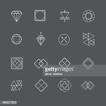 Set of sharp mistical line logos : Vector Art