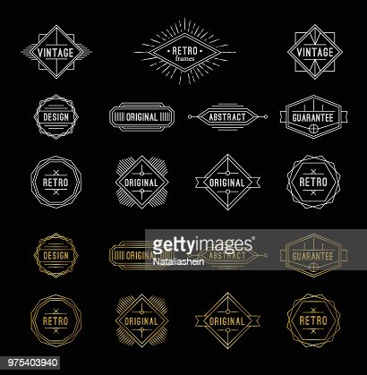 Set of shiny gold and white geometric vintage labels with the place for text. : Vector Art