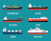 Set of ships in modern flat style. High quality delivery and shipping boats illustration. Set of container ship, bulker, ro-ro, tanker, dry cargo, ferry boat. Vector illustration isolated on a blue ba