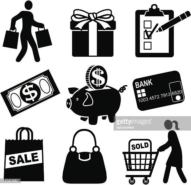 A set of shopping and sale icons
