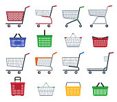 Set of shopping trolleys and shopping baskets. Isolated on white background. Flat vector illustration.
