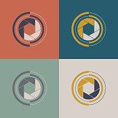 Set of shutter icon. Vector shutter logo sign.
