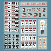 Safe Your Hands and Fingers - Set of Signs and Symbols of Hands and Fingers Warning Signs