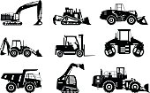 Silhouettes illustration of heavy equipment and machinery isolated on white background. Vector illustration.