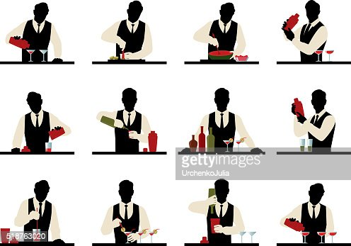 Set of silhouettes of a bartender prepares cocktails : stock vector