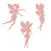Set of silhouettes of fairies isolated on white background.