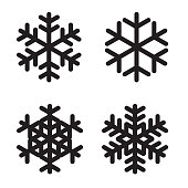 Set of silhouettes snowflakes on White. Vector Illustration. EPS10